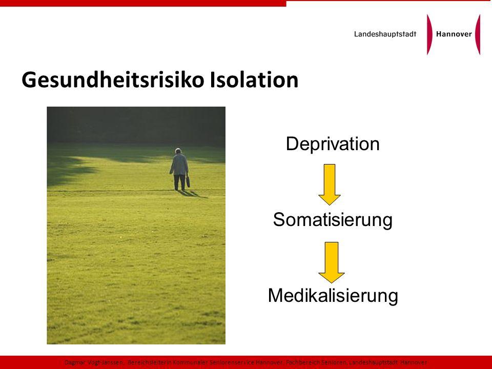 Deprivation Somatisierung Medikalisierung Gesundheitsrisiko Isolation Dagmar Vogt-Janssen, Bereichsleiterin Kommunaler Seniorenservice Hannover, Fachb