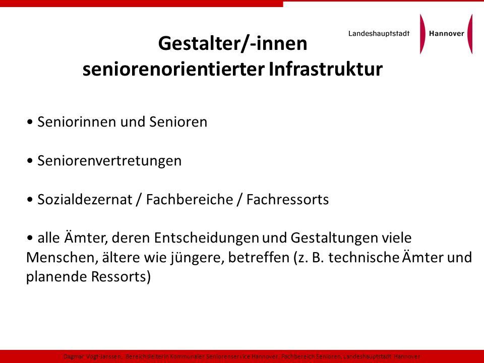 Gestalter/-innen seniorenorientierter Infrastruktur Seniorinnen und Senioren Seniorenvertretungen Sozialdezernat / Fachbereiche / Fachressorts alle Äm