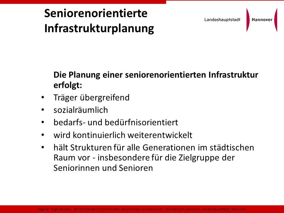 Seniorenorientierte Infrastrukturplanung Die Planung einer seniorenorientierten Infrastruktur erfolgt: Träger übergreifend sozialräumlich bedarfs- und