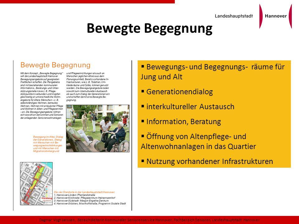 Bewegte Begegnung Dagmar Vogt-Janssen, Bereichsleiterin Kommunaler Seniorenservice Hannover, Fachbereich Senioren, Landeshauptstadt Hannover Bewegungs
