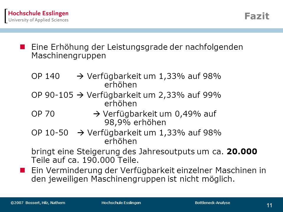 11 ©2007 Bossert, Hilz, Nathem Hochschule Esslingen Bottleneck-Analyse Fazit Eine Erhöhung der Leistungsgrade der nachfolgenden Maschinengruppen OP 14