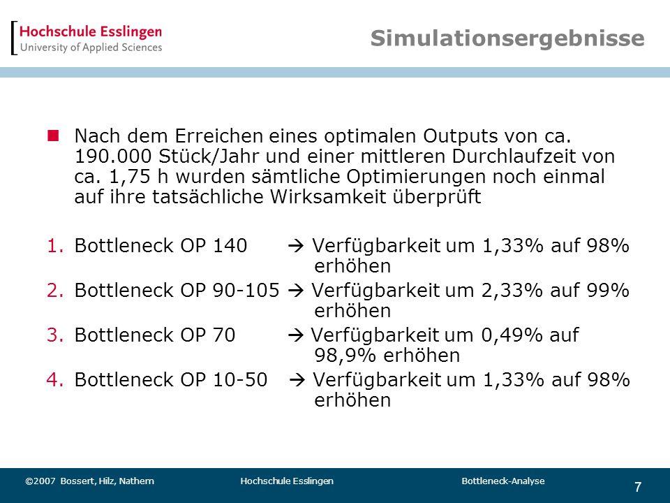 7 ©2007 Bossert, Hilz, Nathem Hochschule Esslingen Bottleneck-Analyse Simulationsergebnisse Nach dem Erreichen eines optimalen Outputs von ca. 190.000