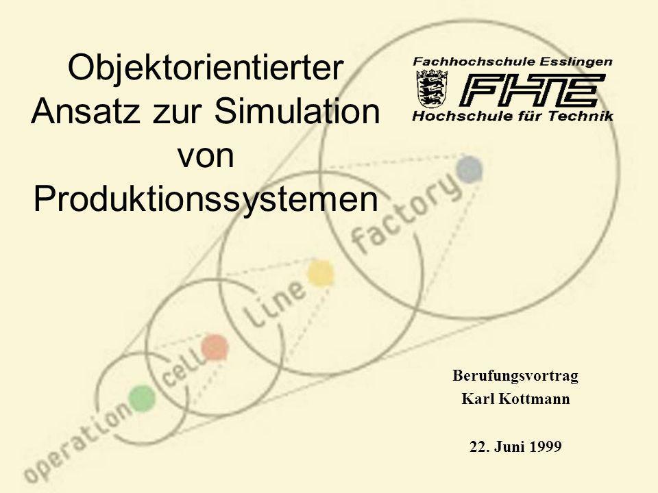 Objektorientierter Ansatz zur Simulation von Produktionssystemen Berufungsvortrag Karl Kottmann 22. Juni 1999