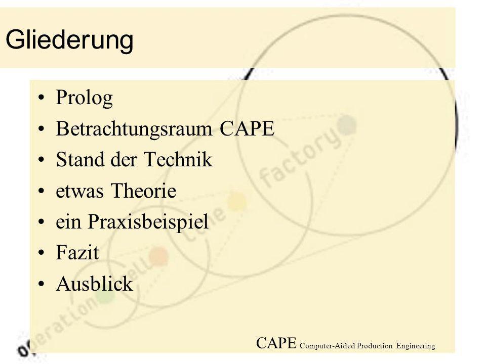 Gliederung Prolog Betrachtungsraum CAPE Stand der Technik etwas Theorie ein Praxisbeispiel Fazit Ausblick CAPE Computer-Aided Production Engineering