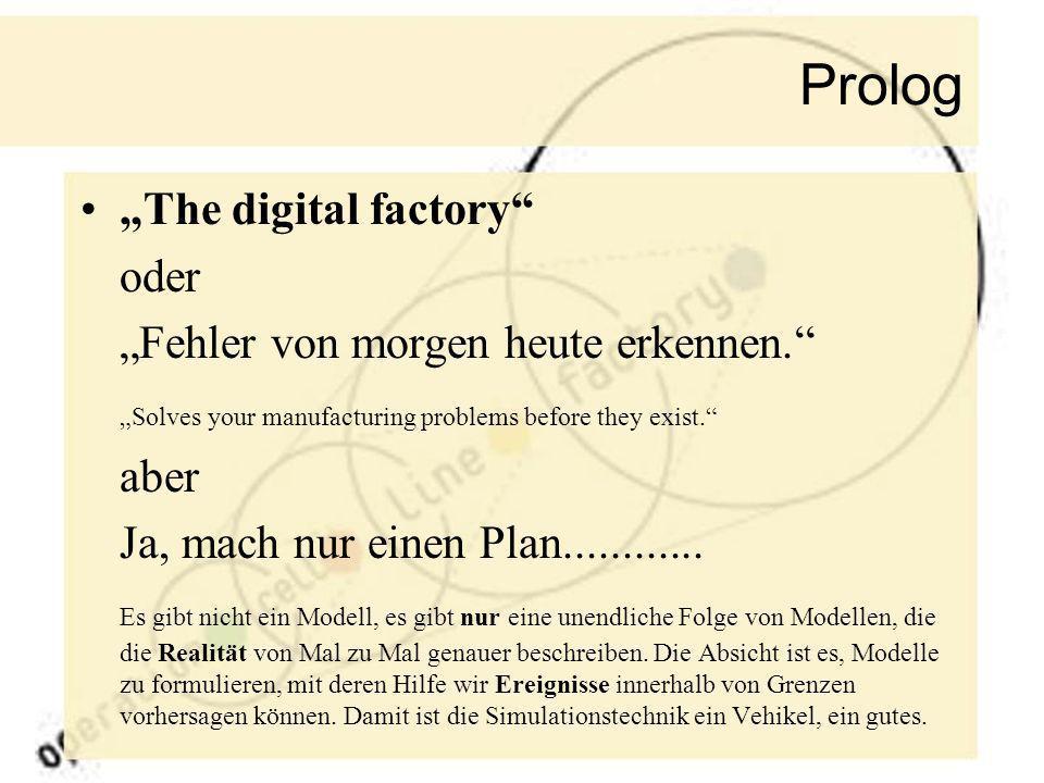 Prolog The digital factory oder Fehler von morgen heute erkennen. Solves your manufacturing problems before they exist. aber Ja, mach nur einen Plan..