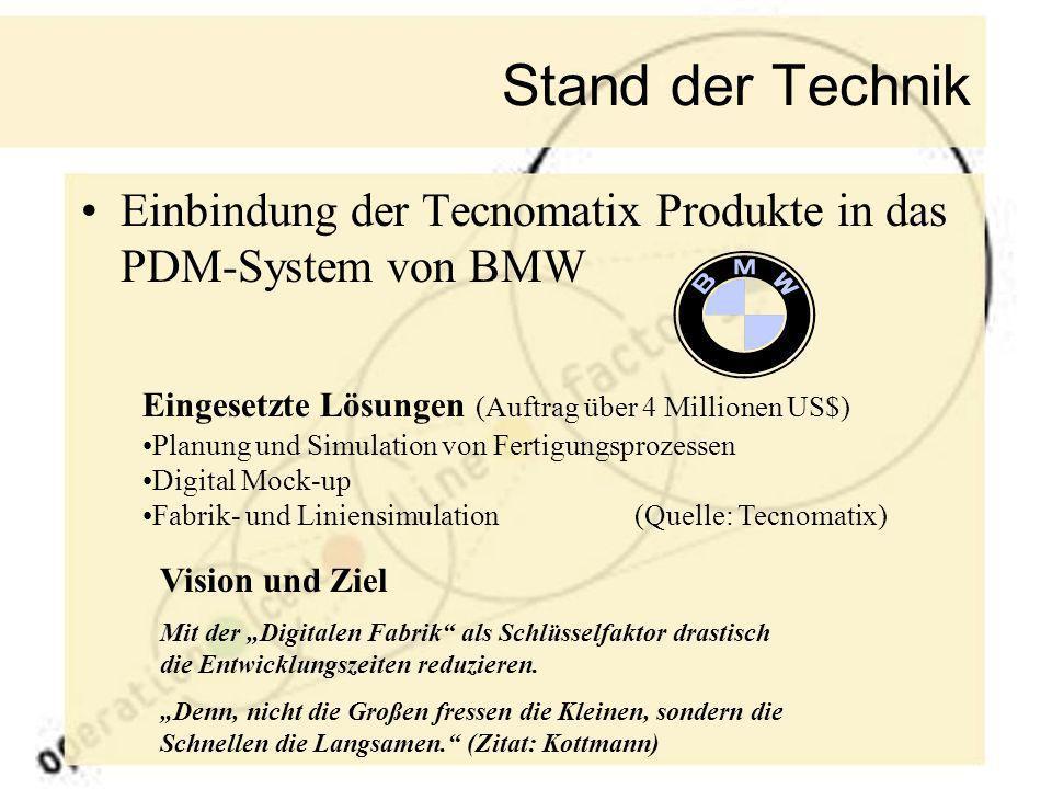 Stand der Technik Einbindung der Tecnomatix Produkte in das PDM-System von BMW Eingesetzte Lösungen (Auftrag über 4 Millionen US$) Planung und Simulat