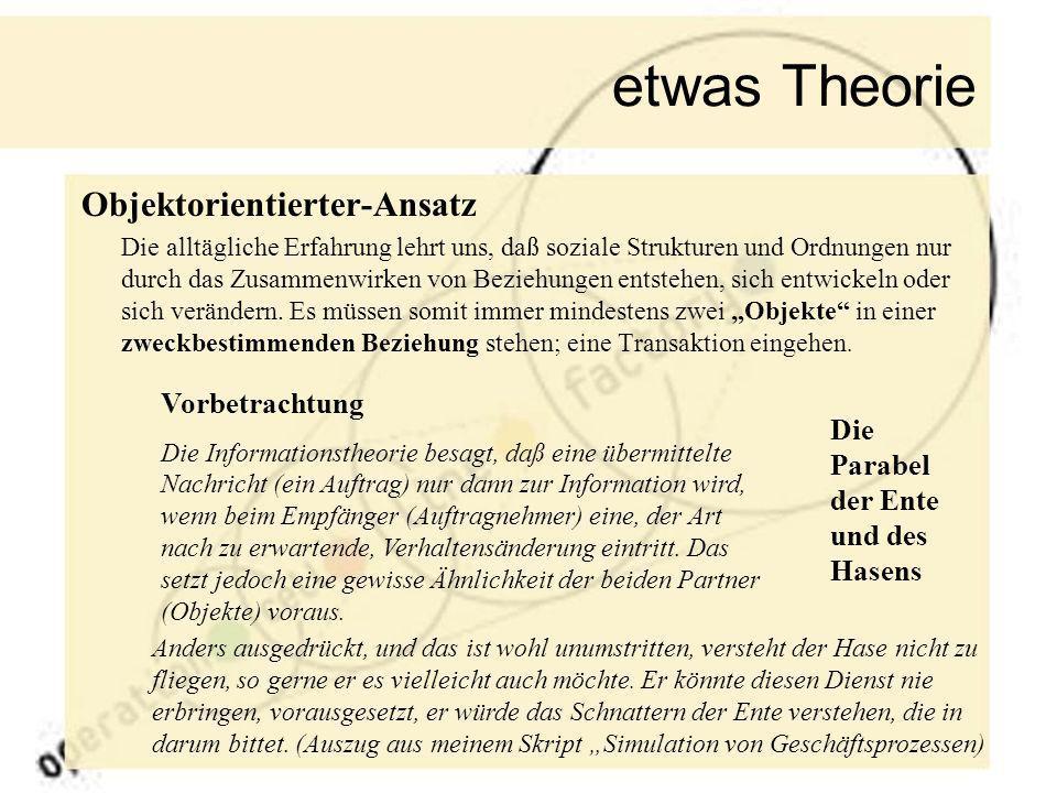 etwas Theorie Objektorientierter-Ansatz Die alltägliche Erfahrung lehrt uns, daß soziale Strukturen und Ordnungen nur durch das Zusammenwirken von Bez