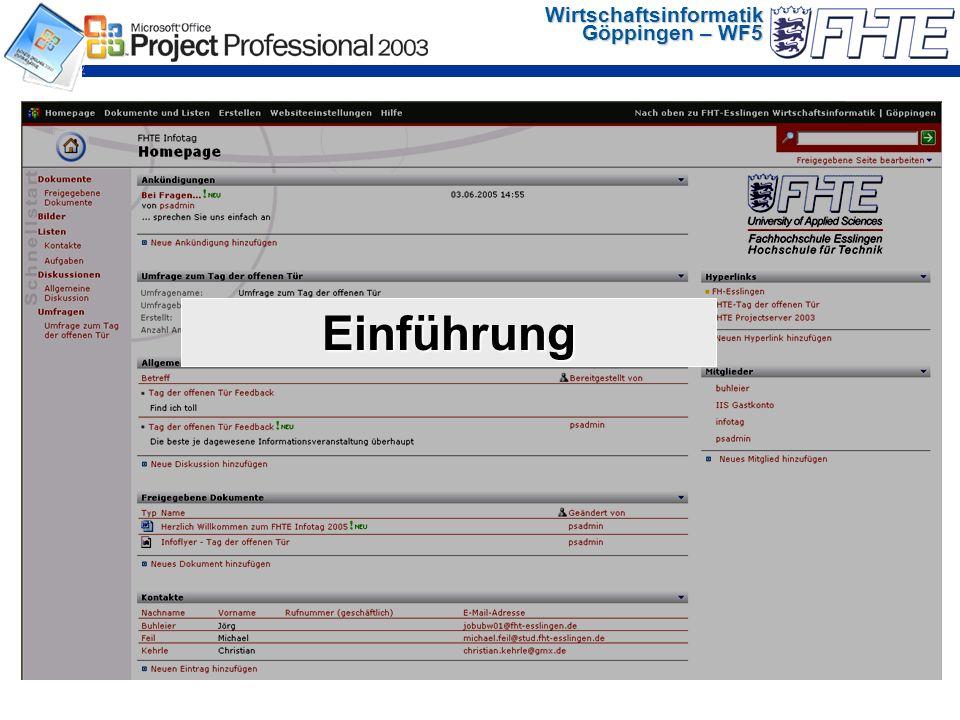 Wirtschaftsinformatik Göppingen – WF5 Einführung