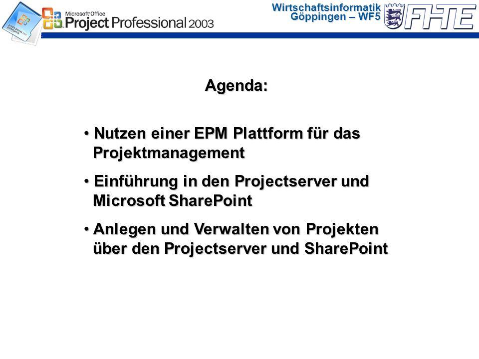 Wirtschaftsinformatik Göppingen – WF5 Quelle: Value of Project Management in IT Organizations survey, Center for Business Practices, Februar 2002 Verbesserung der Projektkennzahlen um durchschnittlich 21%.