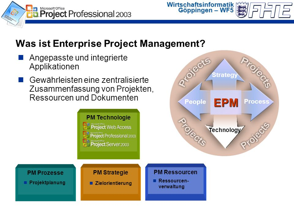 Wirtschaftsinformatik Göppingen – WF5 Was ist Enterprise Project Management.