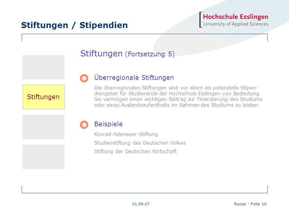 Stiftungen / Stipendien 01.09.07Ruoss - Folie 10 Beispiele Konrad-Adenauer-Stiftung Studienstiftung des Deutschen Volkes Stiftung der Deutschen Wirtsc