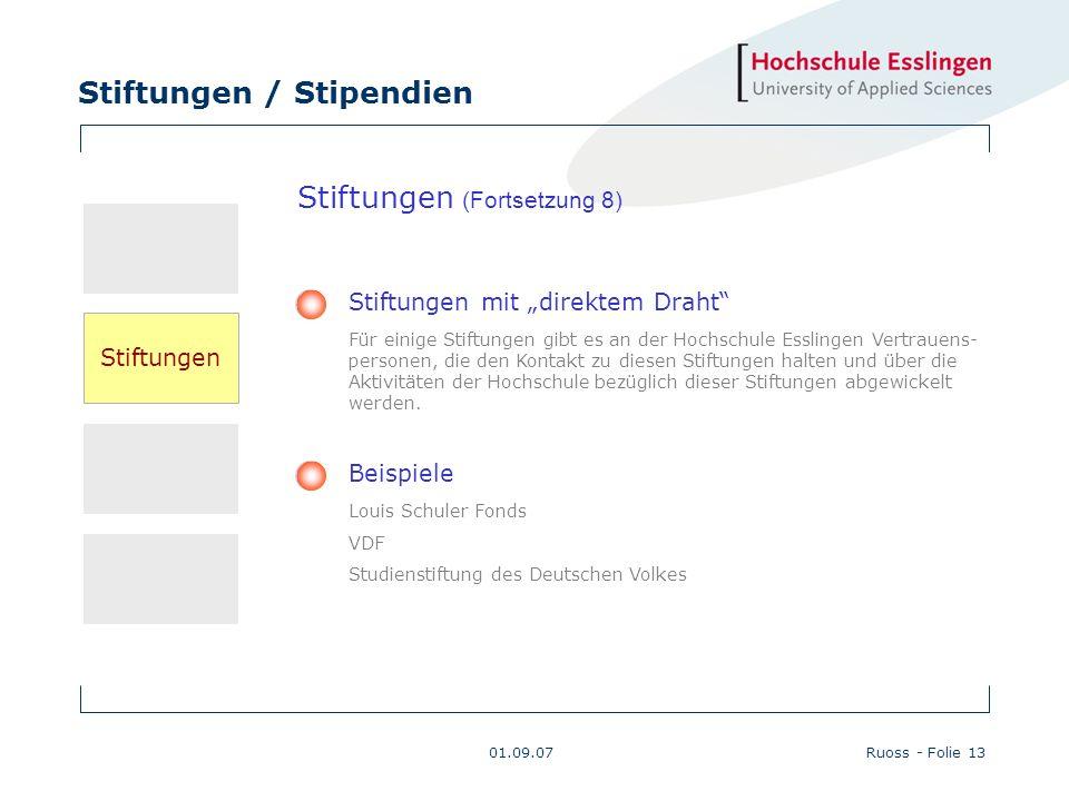 Stiftungen / Stipendien 01.09.07Ruoss - Folie 13 Beispiele Louis Schuler Fonds VDF Studienstiftung des Deutschen Volkes Stiftungen mit direktem Draht