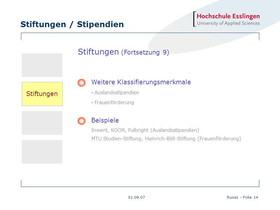 Stiftungen / Stipendien 01.09.07Ruoss - Folie 14 Beispiele Inwent, KOOR, Fulbright (Auslandsstipendien) MTU Studien-Stiftung, Heinrich-Böll-Stiftung (