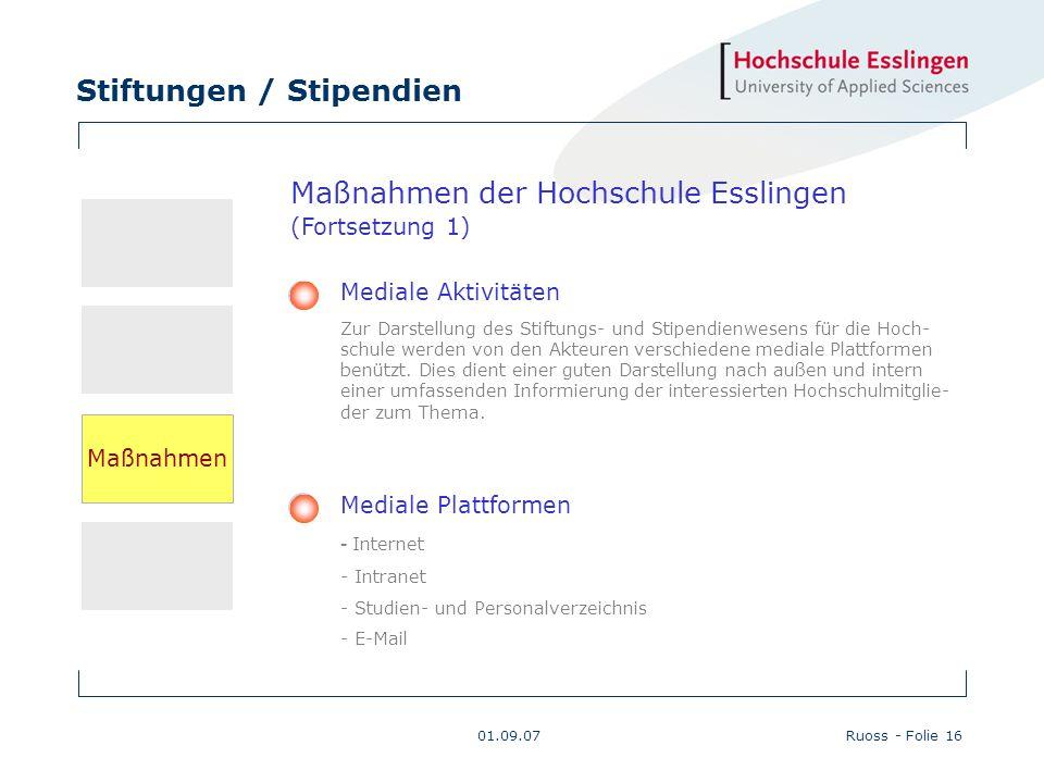 Stiftungen / Stipendien 01.09.07Ruoss - Folie 16 Maßnahmen der Hochschule Esslingen (Fortsetzung 1) Mediale Aktivitäten Zur Darstellung des Stiftungs-