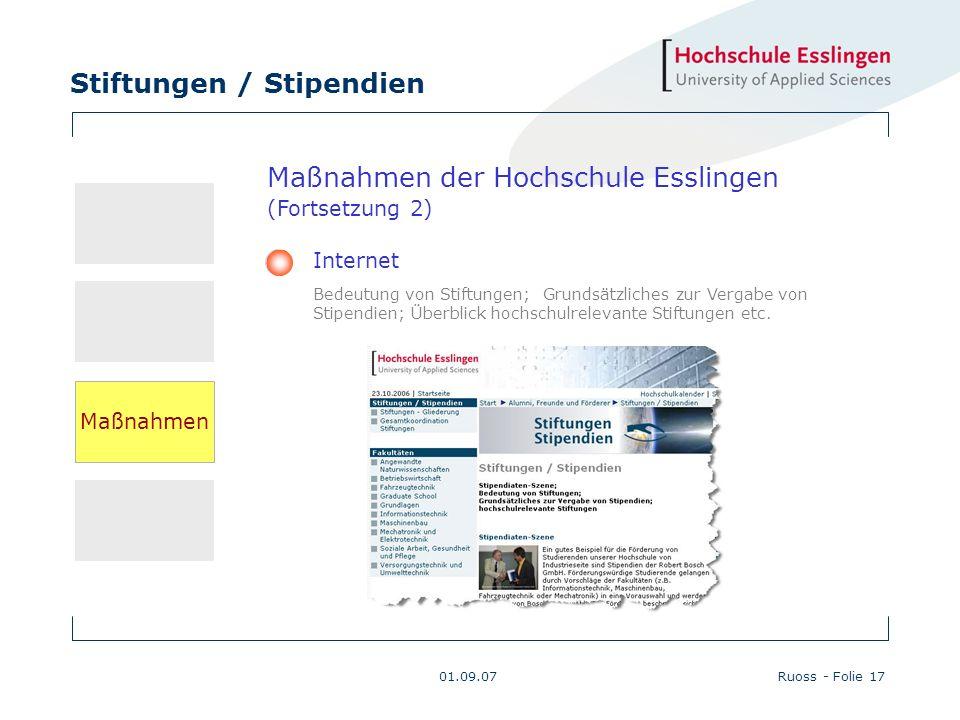 Stiftungen / Stipendien 01.09.07Ruoss - Folie 17 Maßnahmen der Hochschule Esslingen (Fortsetzung 2) Internet Bedeutung von Stiftungen; Grundsätzliches