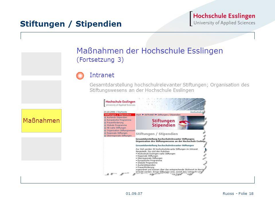 Stiftungen / Stipendien 01.09.07Ruoss - Folie 18 Maßnahmen der Hochschule Esslingen (Fortsetzung 3) Intranet Gesamtdarstellung hochschulrelevanter Sti