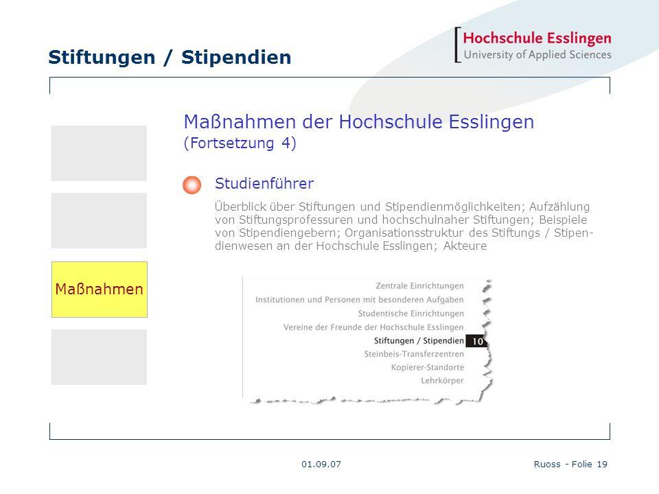 Stiftungen / Stipendien 01.09.07Ruoss - Folie 19 Maßnahmen der Hochschule Esslingen (Fortsetzung 4) Studienführer Überblick über Stiftungen und Stipen