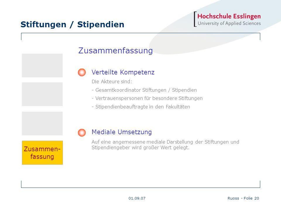 Stiftungen / Stipendien 01.09.07Ruoss - Folie 20 Zusammenfassung Verteilte Kompetenz Die Akteure sind: - Gesamtkoordinator Stiftungen / Stipendien - V