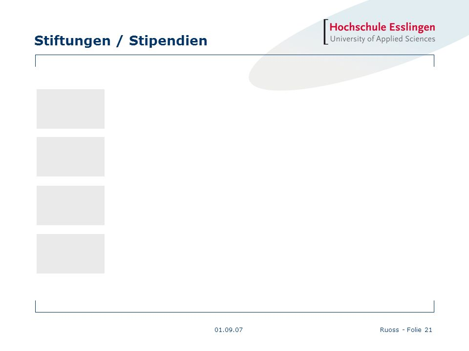 Stiftungen / Stipendien 01.09.07Ruoss - Folie 21