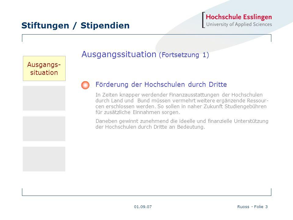 Stiftungen / Stipendien 01.09.07Ruoss - Folie 3 Ausgangssituation (Fortsetzung 1) Förderung der Hochschulen durch Dritte In Zeiten knapper werdender F