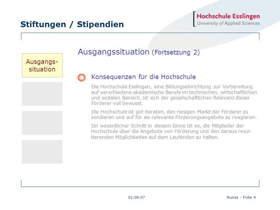 Stiftungen / Stipendien 01.09.07Ruoss - Folie 4 Konsequenzen für die Hochschule Die Hochschule Esslingen, eine Bildungseinrichtung zur Vorbereitung au