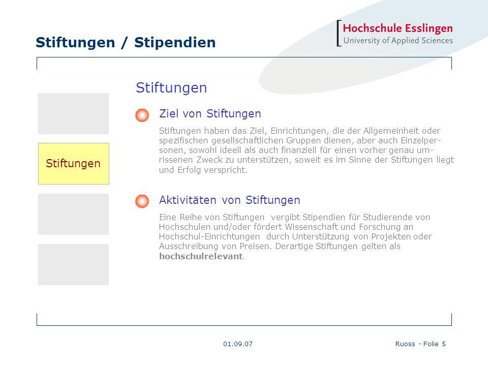 Stiftungen / Stipendien 01.09.07Ruoss - Folie 16 Maßnahmen der Hochschule Esslingen (Fortsetzung 1) Mediale Aktivitäten Zur Darstellung des Stiftungs- und Stipendienwesens für die Hoch- schule werden von den Akteuren verschiedene mediale Plattformen benützt.