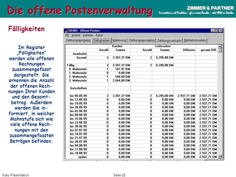 Wary-PräsentationSeite 21 ZIMMER & PARTNER Innovation und Tradition – für unsere Kunden – seit 1932 in Dresden ZIMMER & PARTNER Innovation und Traditi