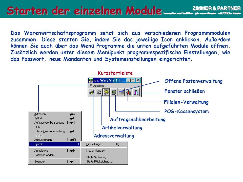 Wary-PräsentationSeite 5 ZIMMER & PARTNER Innovation und Tradition – für unsere Kunden – seit 1932 in Dresden ZIMMER & PARTNER Innovation und Traditio