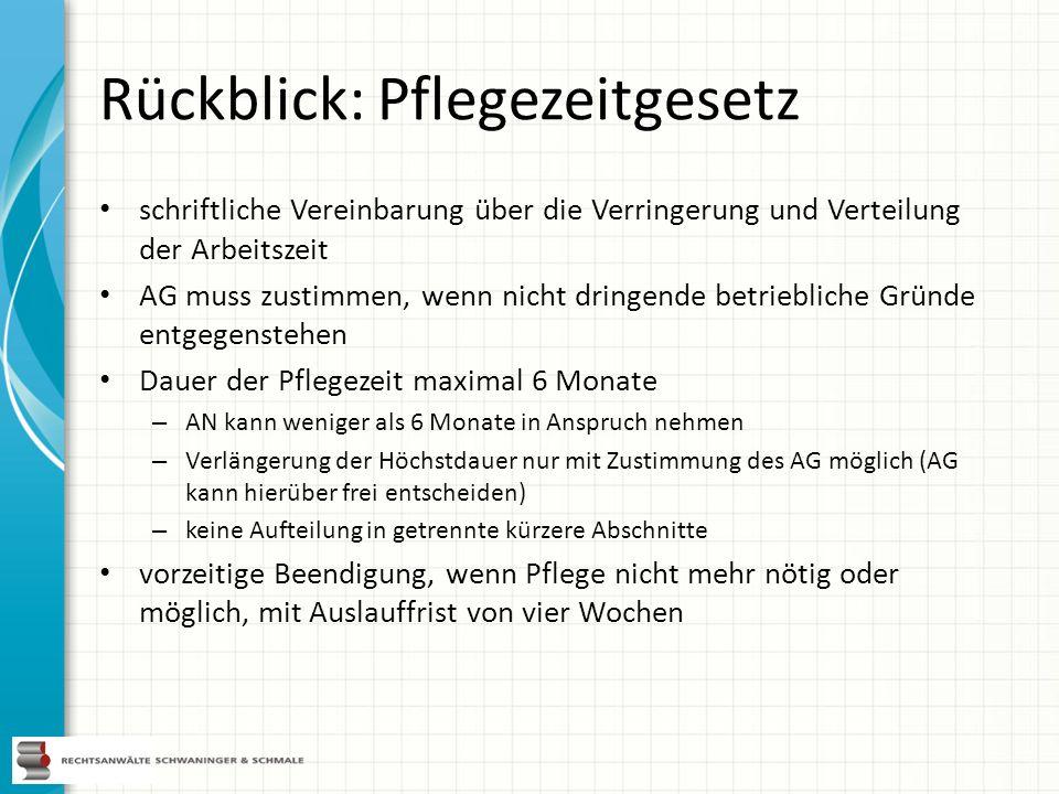 Rückblick: Pflegezeitgesetz schriftliche Vereinbarung über die Verringerung und Verteilung der Arbeitszeit AG muss zustimmen, wenn nicht dringende bet