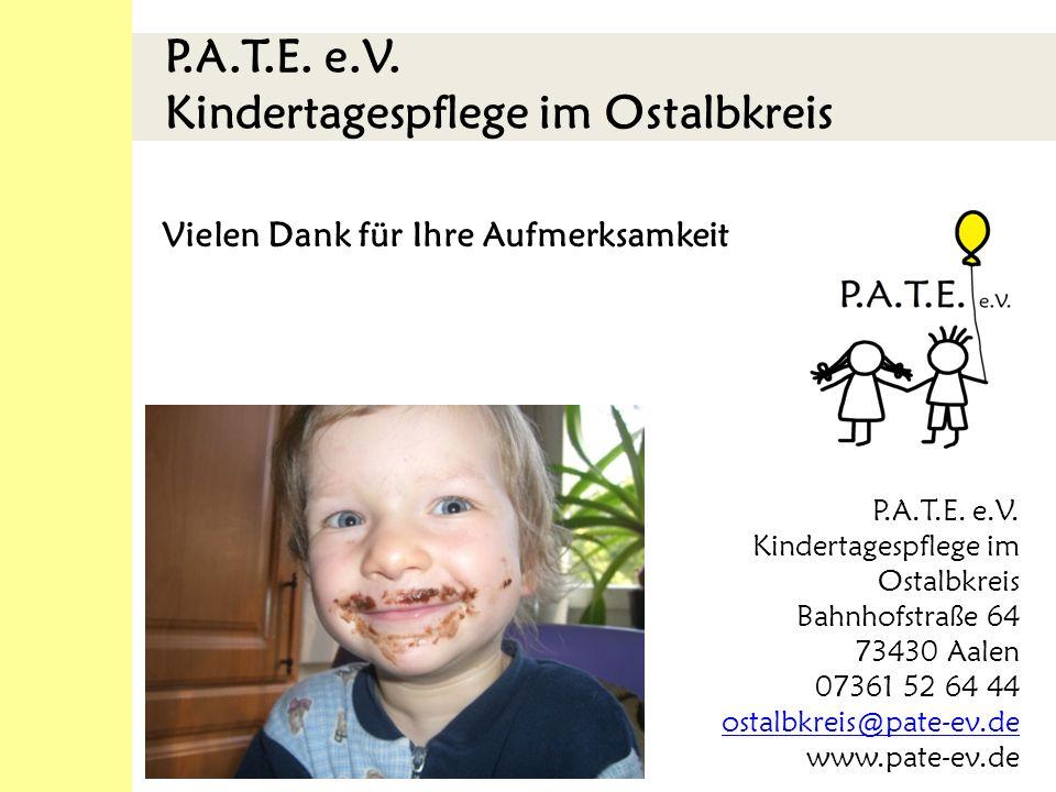 P.A.T.E.e.V. Kindertagespflege im Ostalbkreis Vielen Dank für Ihre Aufmerksamkeit P.A.T.E.