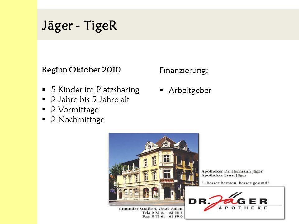 Jäger - TigeR Beginn Oktober 2010 5 Kinder im Platzsharing 2 Jahre bis 5 Jahre alt 2 Vormittage 2 Nachmittage Finanzierung: Arbeitgeber