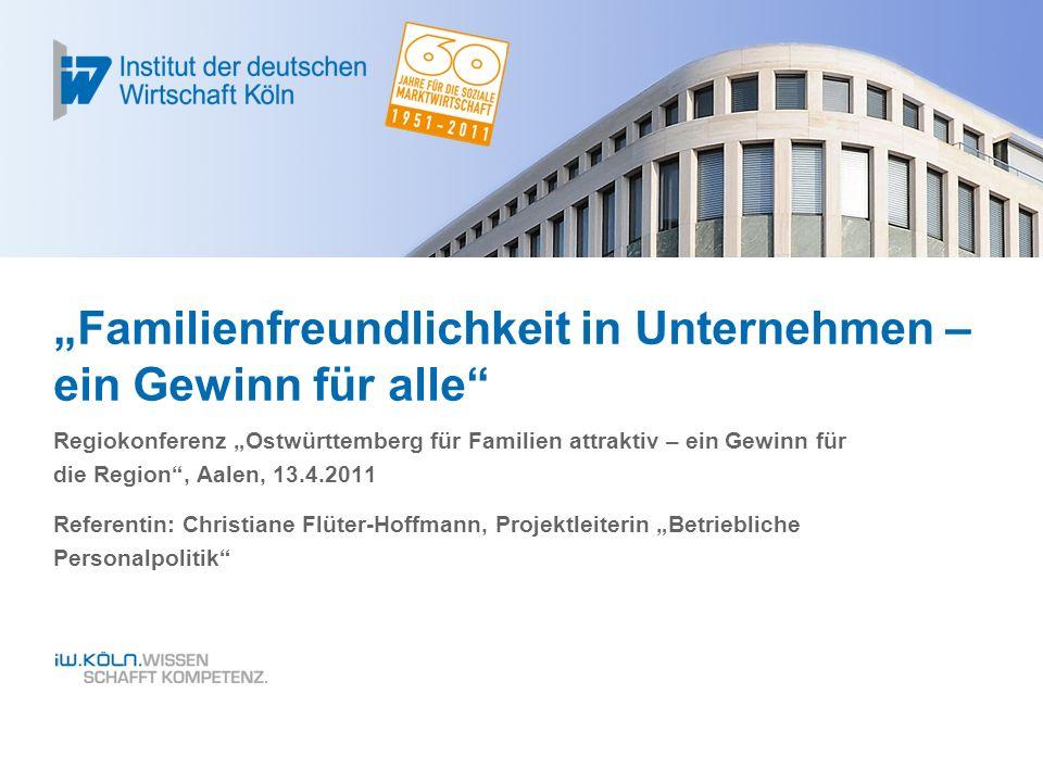 Agenda Christiane Flüter-Hoffmann, Vortrag Familienfreundlichkeit – ein Gewinn für alle, Aalen, 13.4.20112 FAMILIENFREUNDLICHKEIT - LEBENSZYKLUSORIENTIERUNGAUSBLICK: EIN GEWINN FÜR ALLEAUSGANGSLAGE: WAS KOMMT AUF DIE UNTERNEHMEN ZU