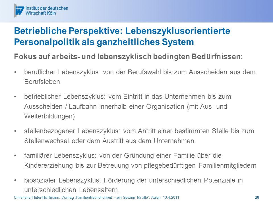 Christiane Flüter-Hoffmann, Vortrag Familienfreundlichkeit – ein Gewinn für alle, Aalen, 13.4.201128 Betriebliche Perspektive: Lebenszyklusorientierte