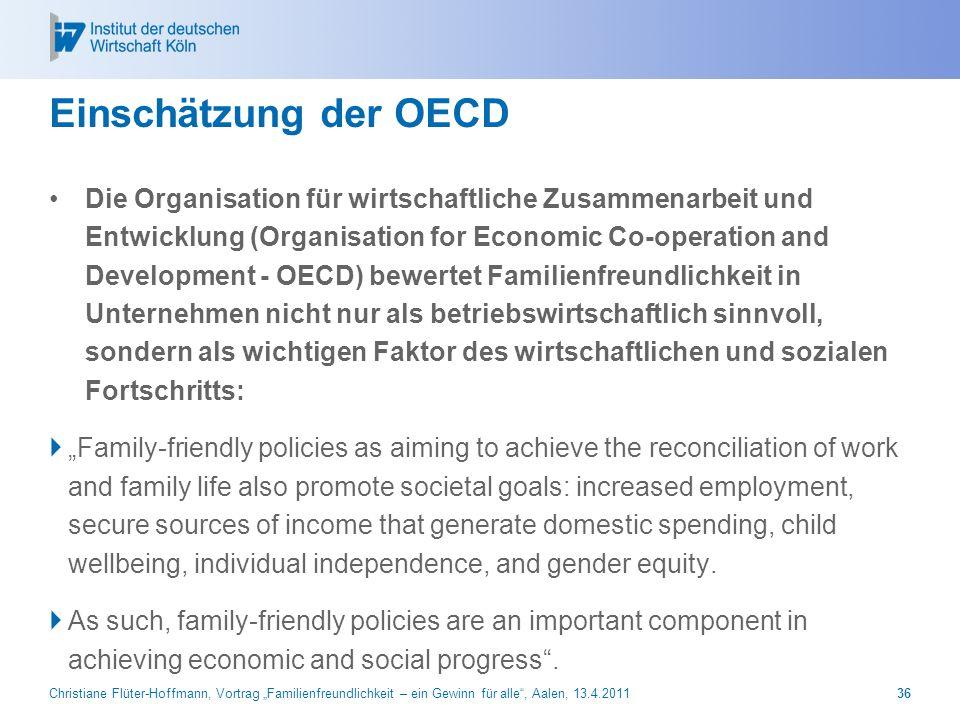 Christiane Flüter-Hoffmann, Vortrag Familienfreundlichkeit – ein Gewinn für alle, Aalen, 13.4.201136 Einschätzung der OECD Die Organisation für wirtsc