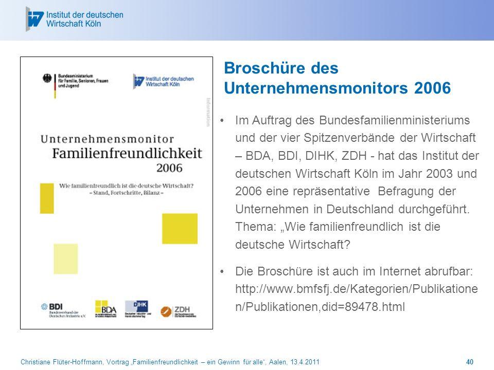 Christiane Flüter-Hoffmann, Vortrag Familienfreundlichkeit – ein Gewinn für alle, Aalen, 13.4.201140 Broschüre des Unternehmensmonitors 2006 Im Auftra