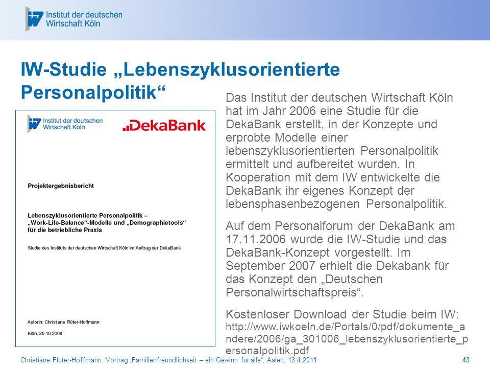 Christiane Flüter-Hoffmann, Vortrag Familienfreundlichkeit – ein Gewinn für alle, Aalen, 13.4.201143 IW-Studie Lebenszyklusorientierte Personalpolitik