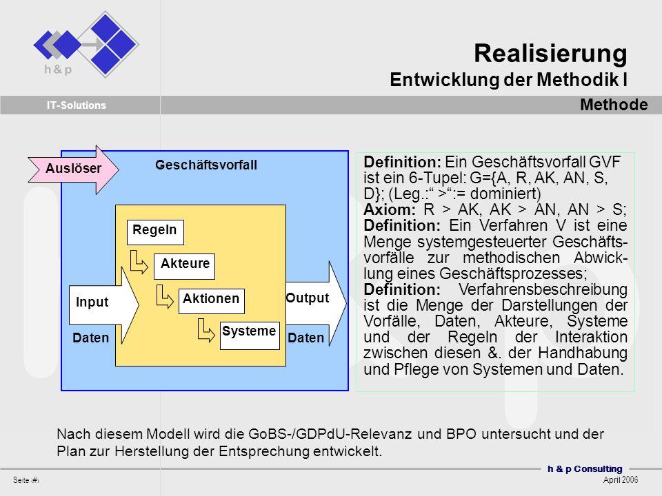 h & p Consulting Seite 36 April 2006 IT-Solutions Nach diesem Modell wird die GoBS-/GDPdU-Relevanz und BPO untersucht und der Plan zur Herstellung der Entsprechung entwickelt.