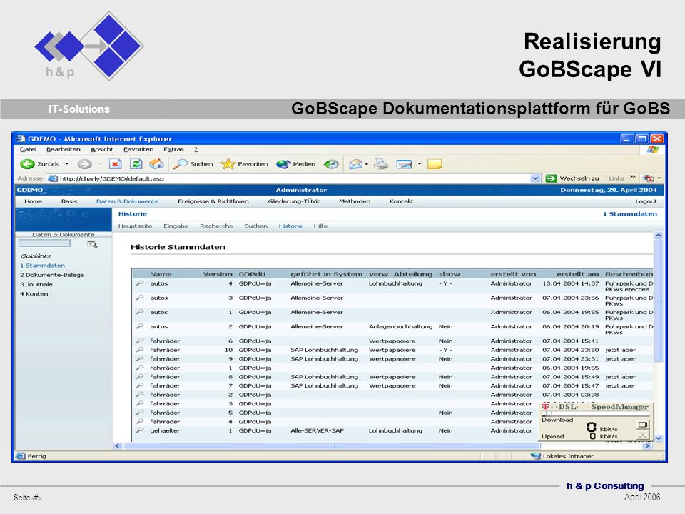 h & p Consulting Seite 47 April 2006 IT-Solutions Realisierung GoBScape VI GoBScape Dokumentationsplattform für GoBS