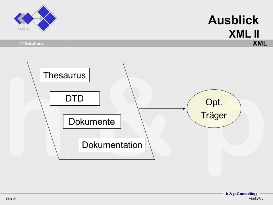 h & p Consulting Seite 52 April 2006 IT-Solutions Opt. Träger Thesaurus DTD Dokumente Dokumentation Ausblick XML II XML