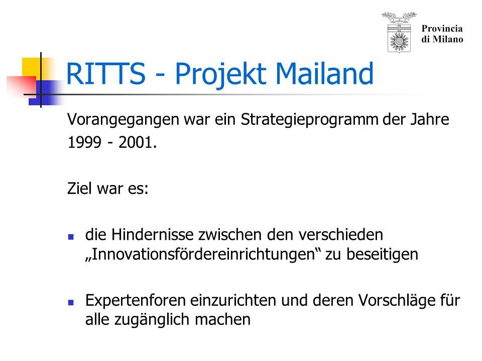 RITTS - Projekt Mailand Strategisches Basisprogramm für die Entwicklung und Verbesserung von Innovationen in der Provinz Mailand.