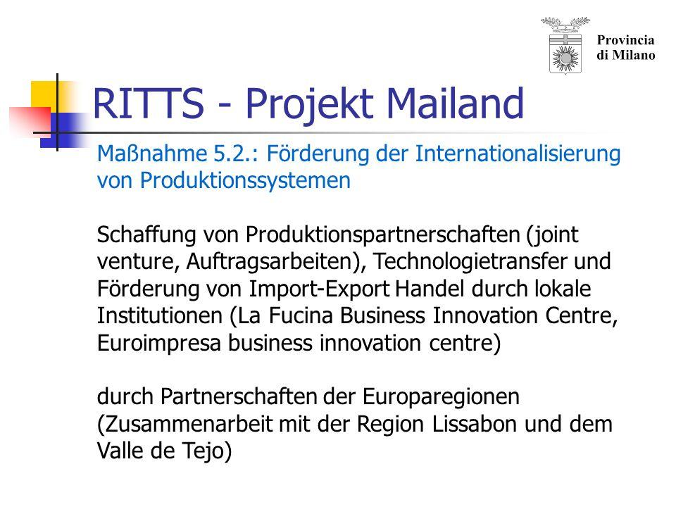 RITTS - Projekt Mailand Maßnahme 5.1: Regionalvermarktung für Mailand Subventionen für Bauen auf der grünen Wiese und Bürokratieabbau bei Planungs- und Bauvorhaben