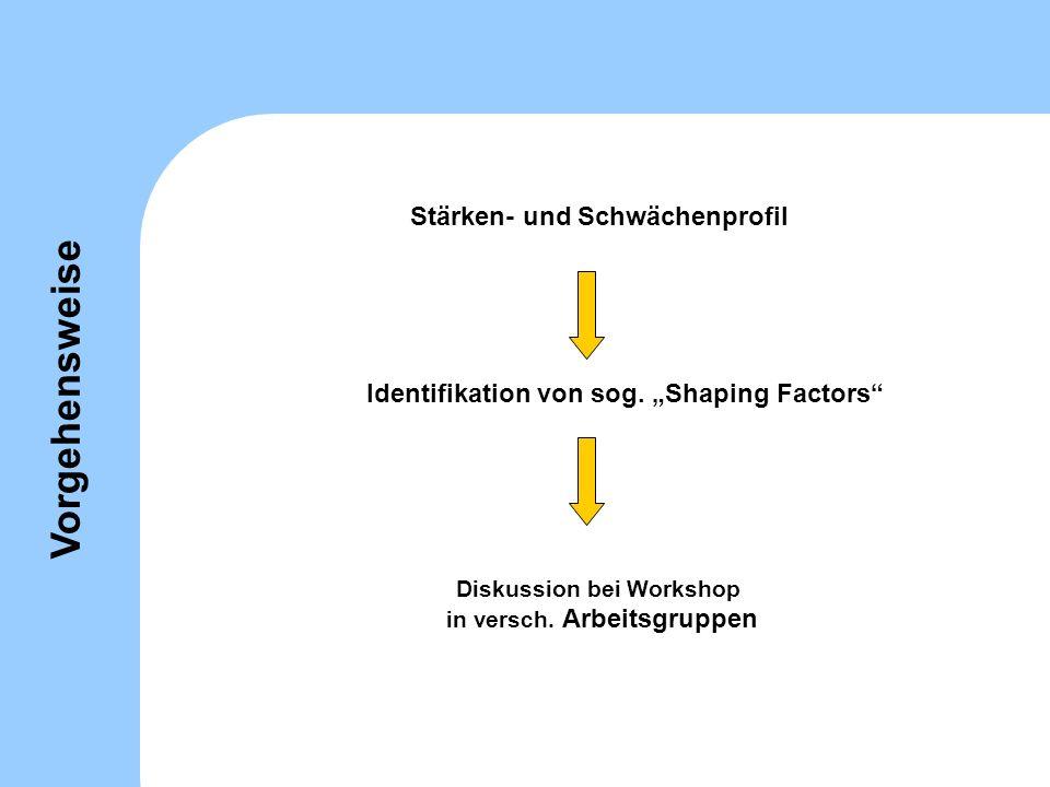Stärken- und Schwächenprofil Identifikation von sog. Shaping Factors Diskussion bei Workshop in versch. Arbeitsgruppen Vorgehensweise