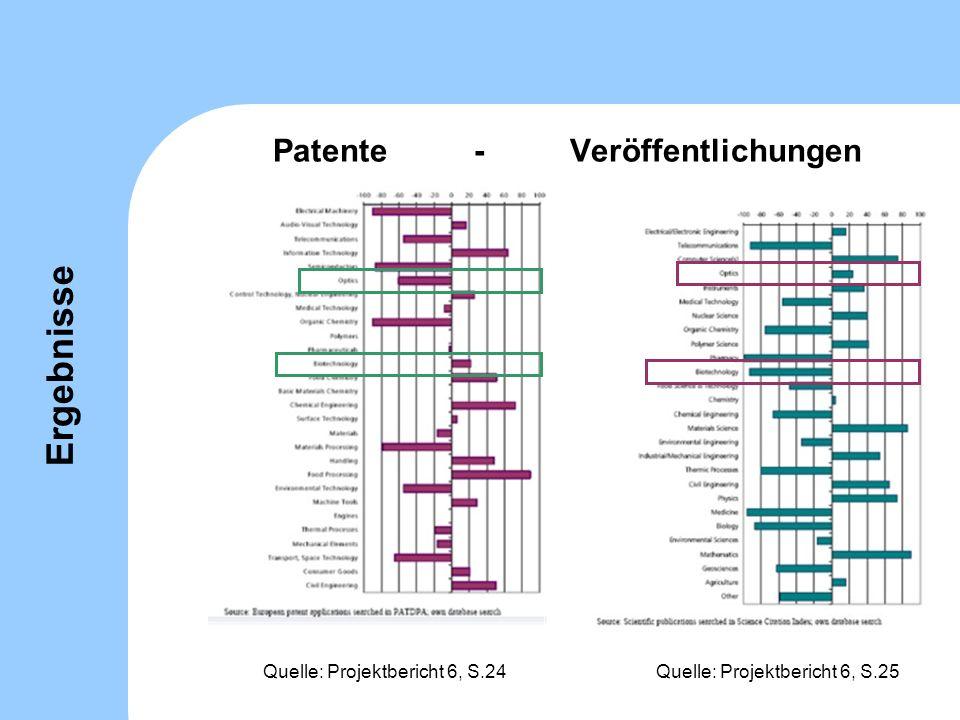 Patente - Veröffentlichungen Quelle: Projektbericht 6, S.25Quelle: Projektbericht 6, S.24 Ergebnisse