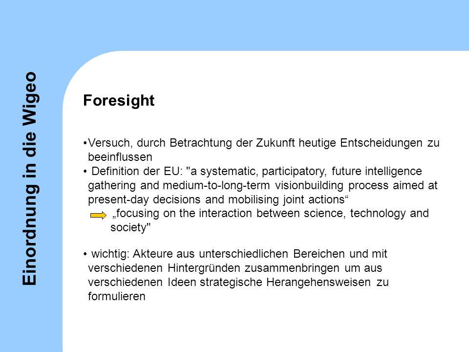 Foresight Versuch, durch Betrachtung der Zukunft heutige Entscheidungen zu beeinflussen Definition der EU: