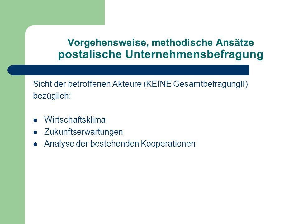 Vorgehensweise, methodische Ansätze postalische Unternehmensbefragung Sicht der betroffenen Akteure (KEINE Gesamtbefragung!!) bezüglich: Wirtschaftskl
