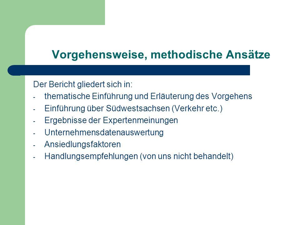 Vorgehensweise, methodische Ansätze Der Bericht gliedert sich in: - thematische Einführung und Erläuterung des Vorgehens - Einführung über Südwestsach
