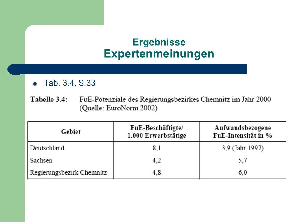 Ergebnisse Expertenmeinungen Tab. 3.4, S.33