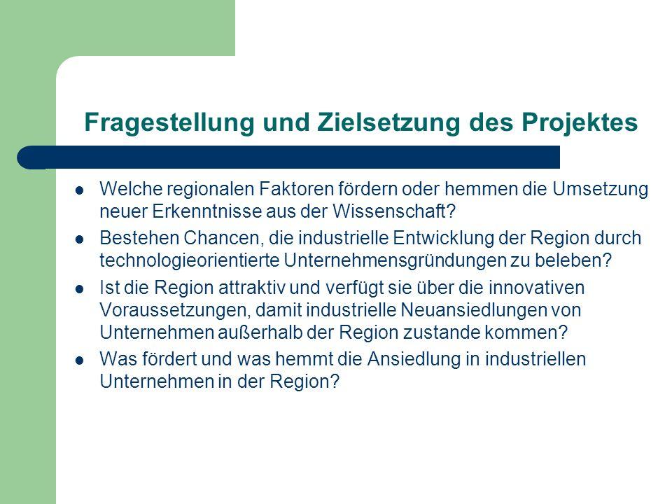 Fragestellung und Zielsetzung des Projektes Welche regionalen Faktoren fördern oder hemmen die Umsetzung neuer Erkenntnisse aus der Wissenschaft? Best