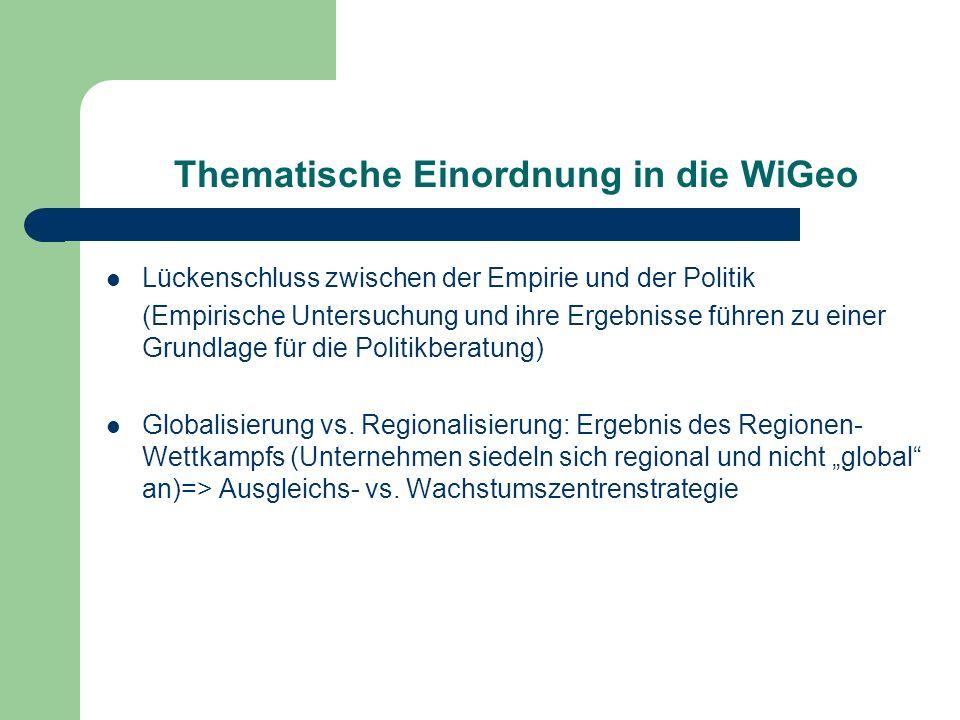 Thematische Einordnung in die WiGeo Lückenschluss zwischen der Empirie und der Politik (Empirische Untersuchung und ihre Ergebnisse führen zu einer Gr