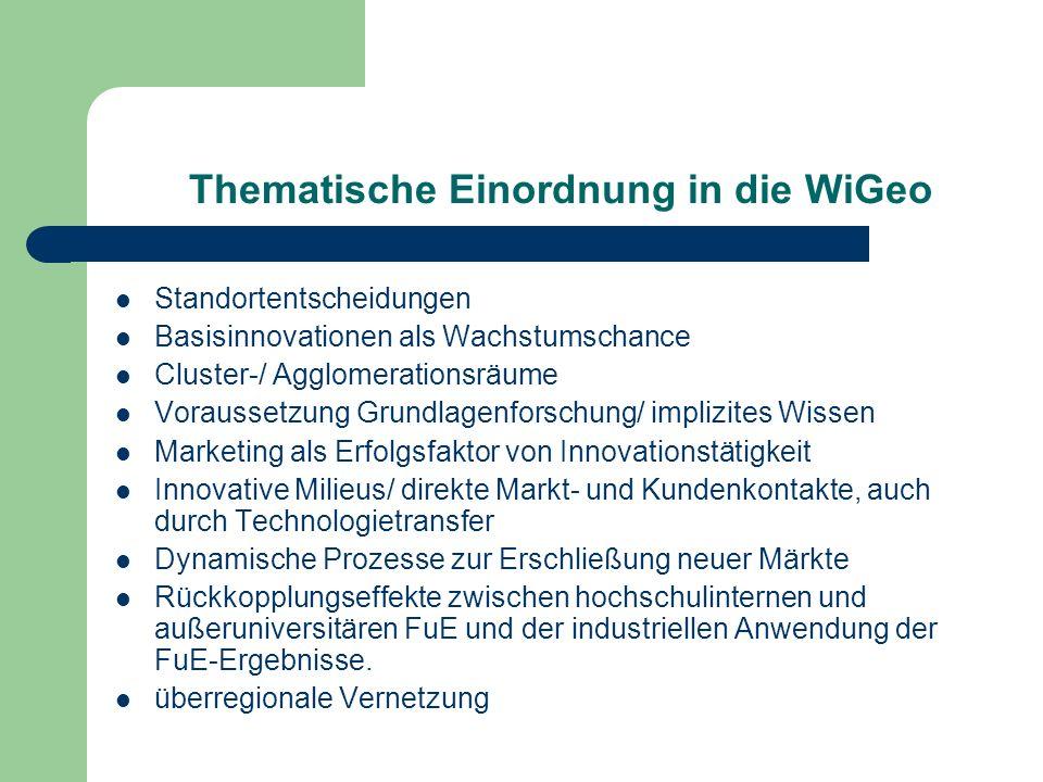 Thematische Einordnung in die WiGeo Standortentscheidungen Basisinnovationen als Wachstumschance Cluster-/ Agglomerationsräume Voraussetzung Grundlage